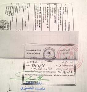 Iraq legalisation stamp